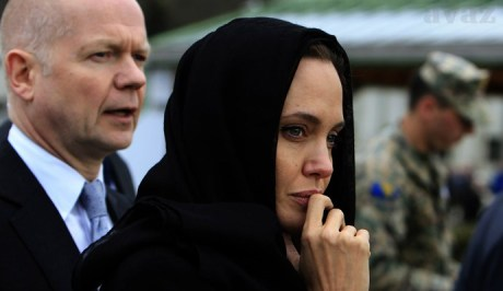 William Hague and Angelina Jolie in Srebrenica, March 2014