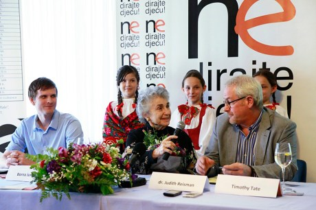 """Launching the global campaign  """"Don't Touch The Children"""" in Croatia, May 2014 From left: Borna Jurcevic from Croatian Citizens' Initiative """"Don't Touch The Children"""" with dr. Judith Reisman and Timothy Tate Photo: CI """"Don't Touch The Children"""""""