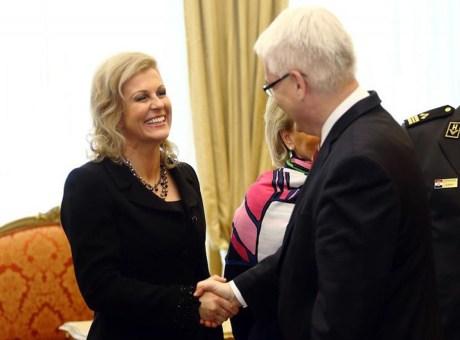 Kolinda Grabar-Kitarovic with Ivo Josipovic Photo: Zeljko Lukunic/Pixsell
