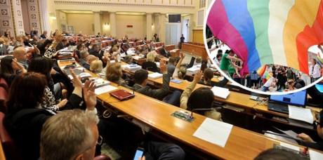 Croatian Parliament votes on same sex life partnership law Photo: Cropix