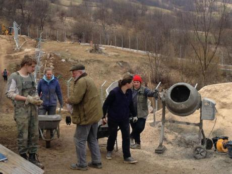Volunteers at work in Kuterevo Bear Refuge