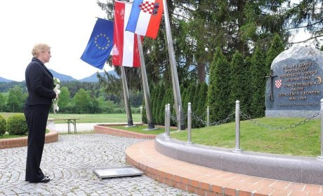 President Kolinda Grabar-Kitarovic At Bleiburg Massacres monument 13 May 2015 Photo: Office of the President, Croatia