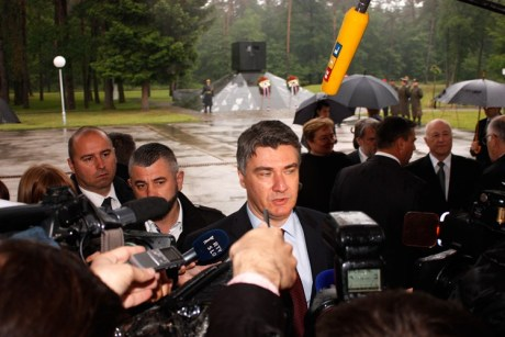 Prime Minister Zoran Milanovic at mass grave Tezno 15 May 2015 Photo: Cropix