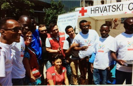 Asylum seekers in Croatia joining in marking World Refugee Day 2015 Photo: Screenshot Croatian Red Cross website