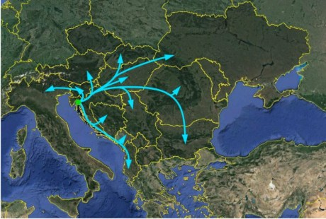 Possible Gas Pipelines from Krk Island LNG Terminal Croatia