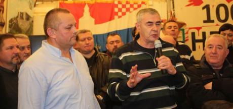 Retired Colonel Mijo Crnoja (left) Retired General Zeljko Glasnovic (right) speaking in veterans' protest tent Zagreb, Croatia Photo: hdz.hr