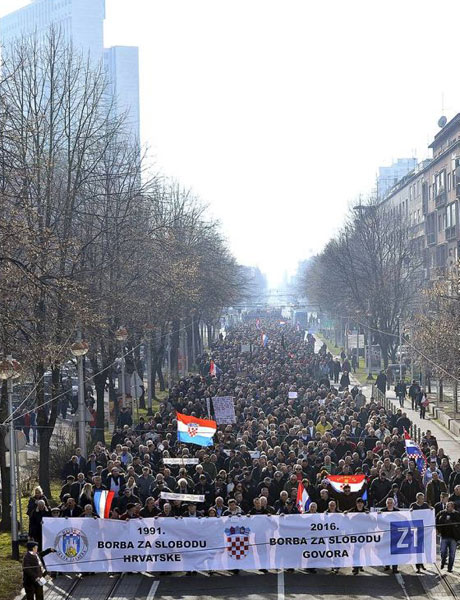 "Protest for freedom of speech for support of journalist  Marko Juric and Z1TV is ""bigger than Ben Hur"" on 26 January 2016 Zagreb Croatia Way to go! Photo: Boris Kovacev/CroPix"
