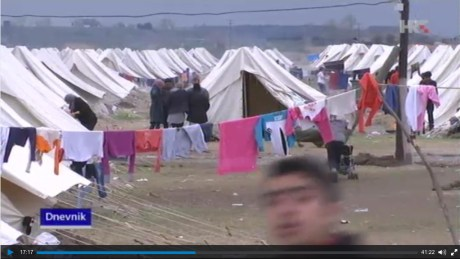 Nea Kavala tent camp Greece, near Macedonia border Photo: Screenshot HRT TV Croatia News 12 March 2016