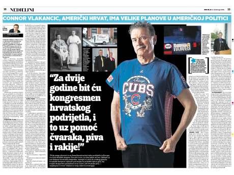 Nedjeljni magazine (Sunday magazine) Croatia Featuring Connor Vlakancic 6 November 2016