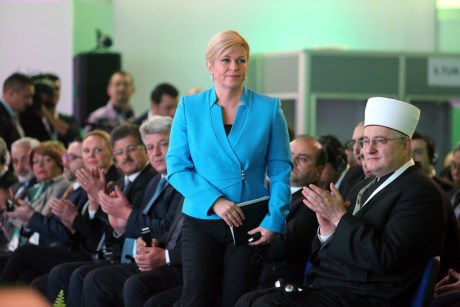 Croatia's President Kolinda Grabar-Kitarovic at Halal Day 2016 ceremony in Croatia Photo:Goran Kovacic/Pixsell