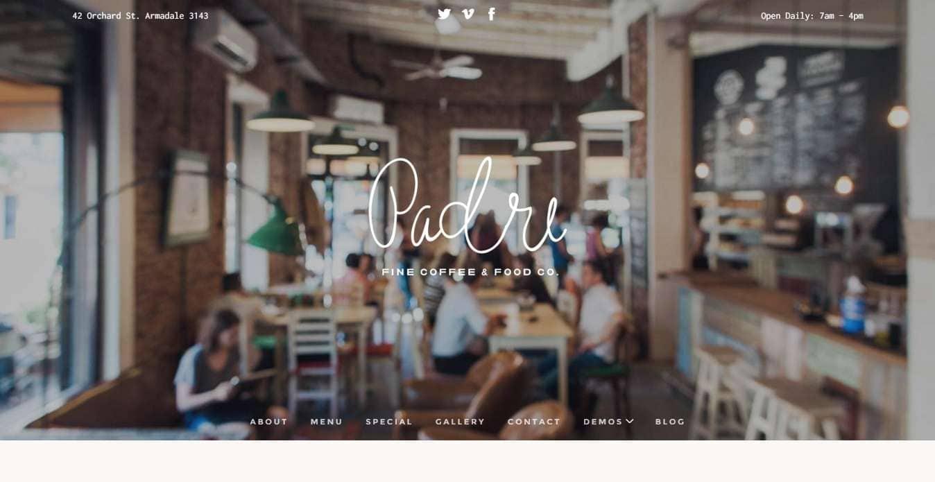 Шаблон wordPress для кофейной и ресторана