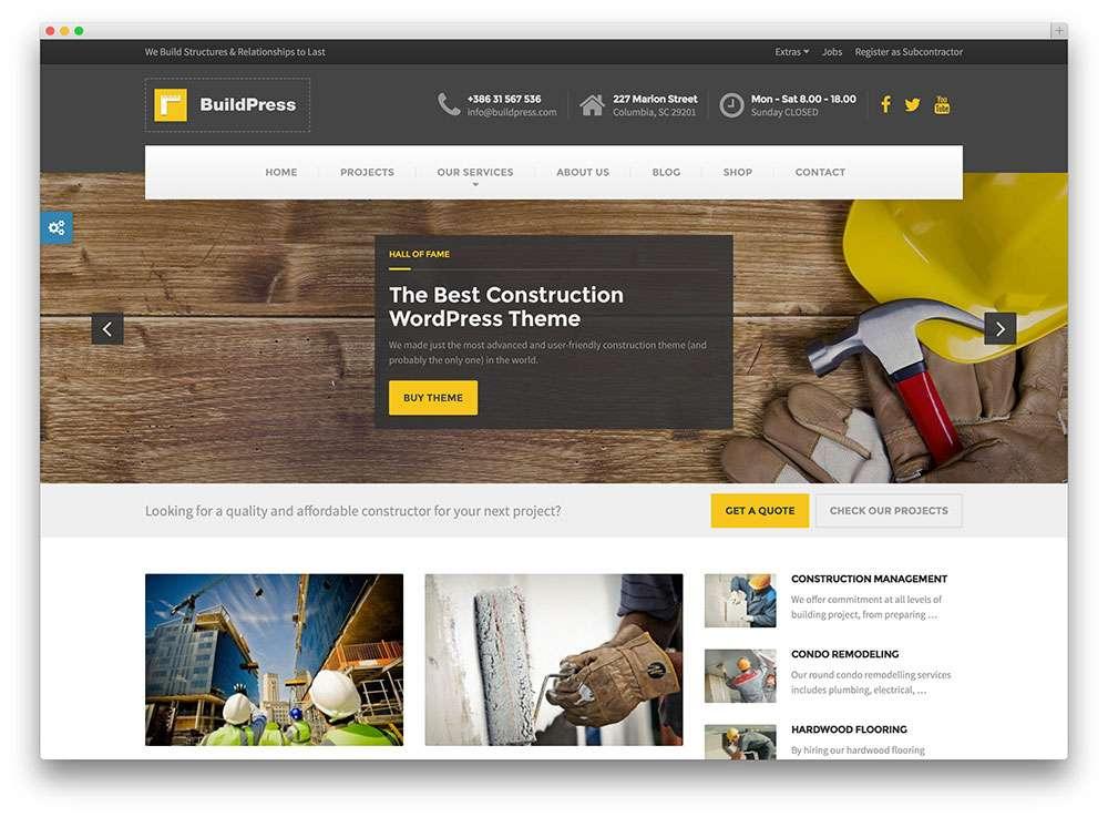 шаблоны сайта строительной компании