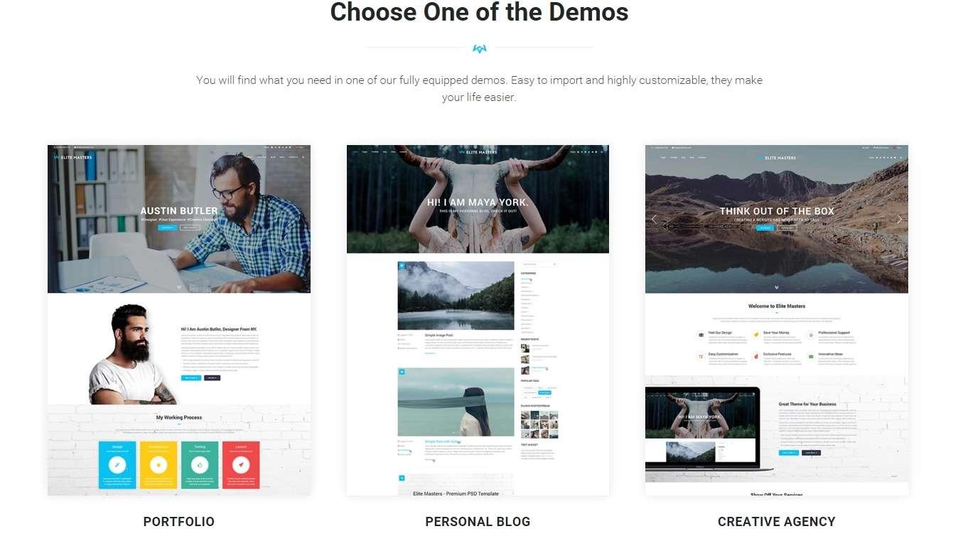 Бизнес WordPress шаблоны сайта для разных профессий
