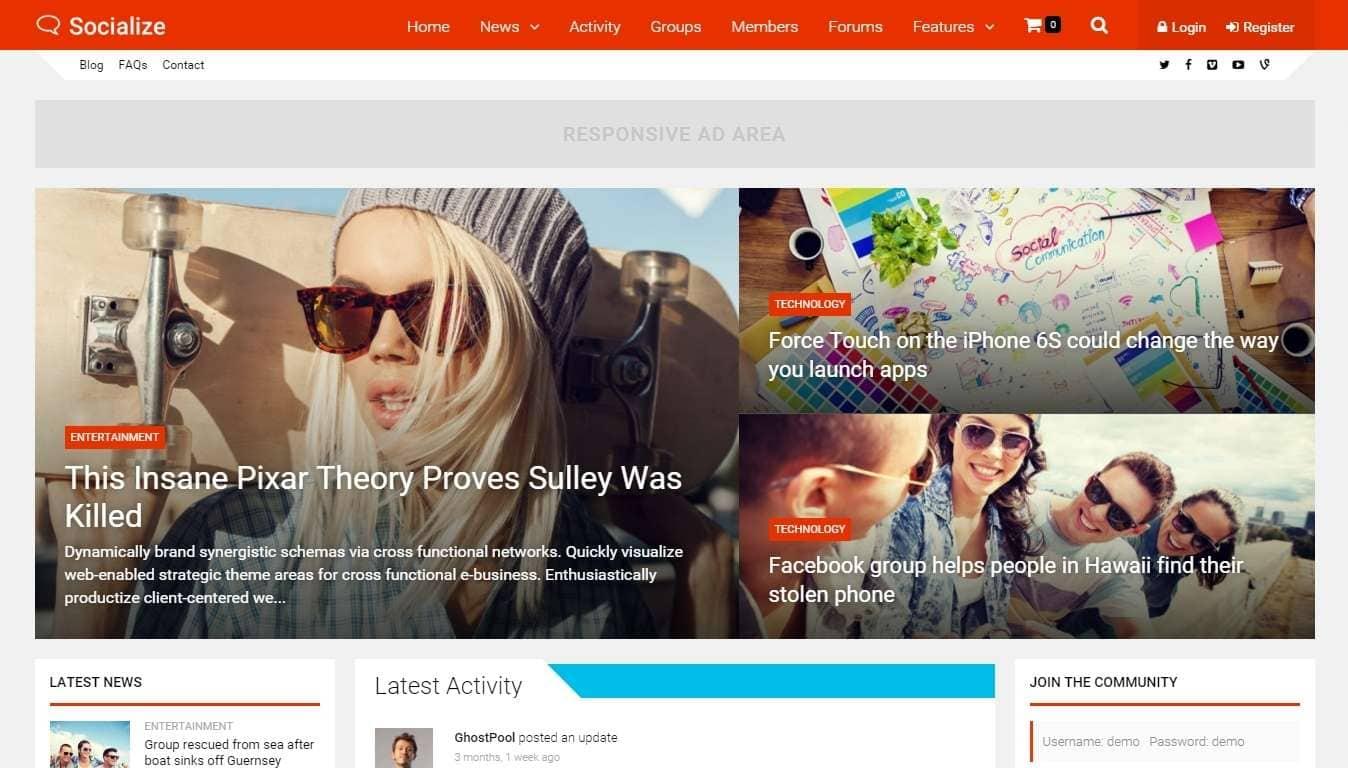BuddyPress шаблоны WordPress для форума