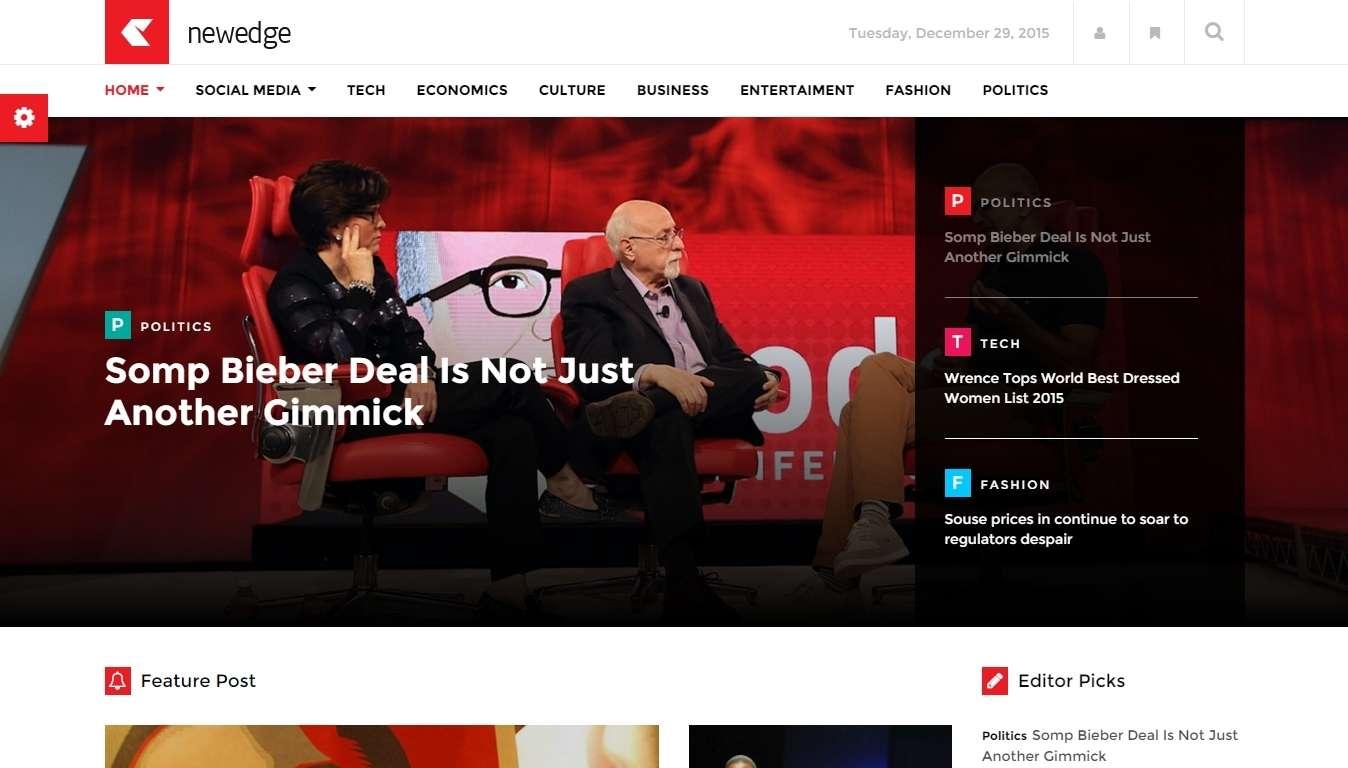 Responsive WordPress шаблон для газеты или журнала