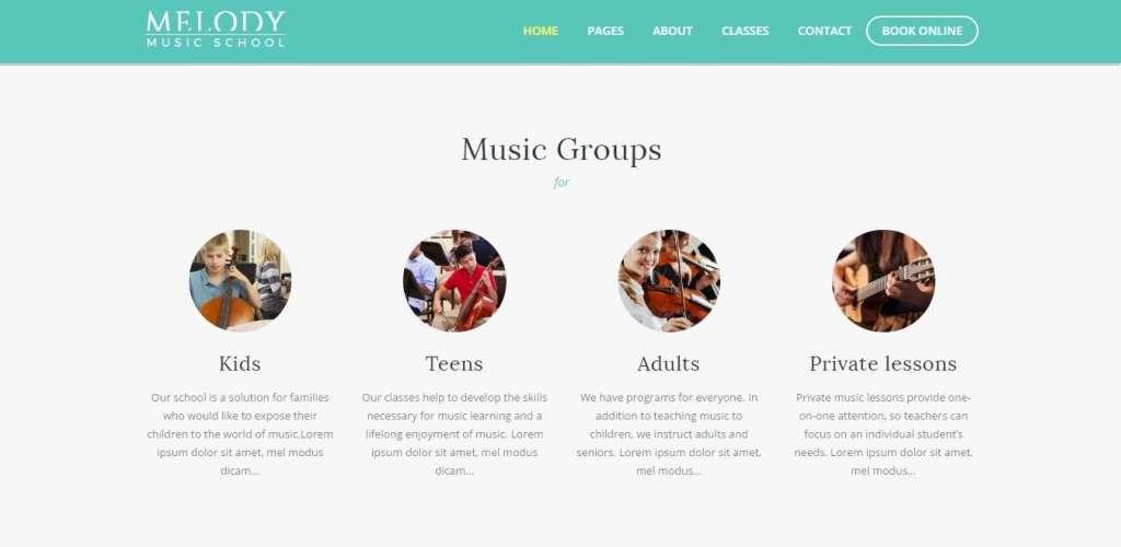 клевые WordPress Шаблоны музыкальной школы с премиум дизайном 2017