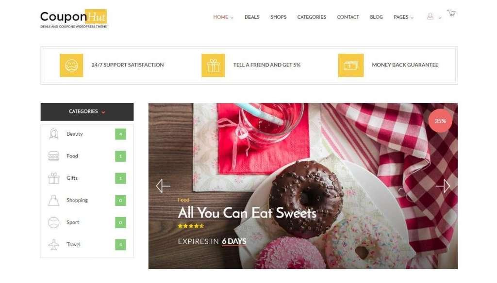 красивые шаблоны сайта купонов и скидок на WordPress