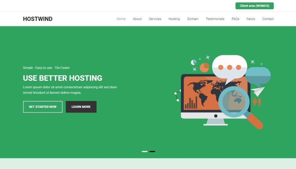 шаблон сайта хостинга с онлайн-оплатой и системой WHMCS 04