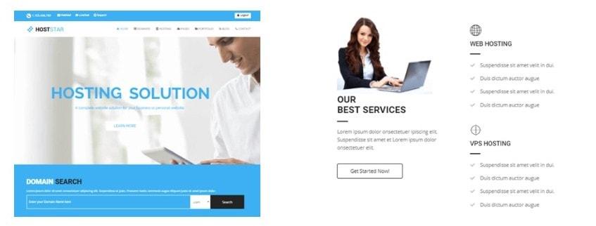 шаблон сайта хостинга с онлайн-оплатой и системой WHMCS 08