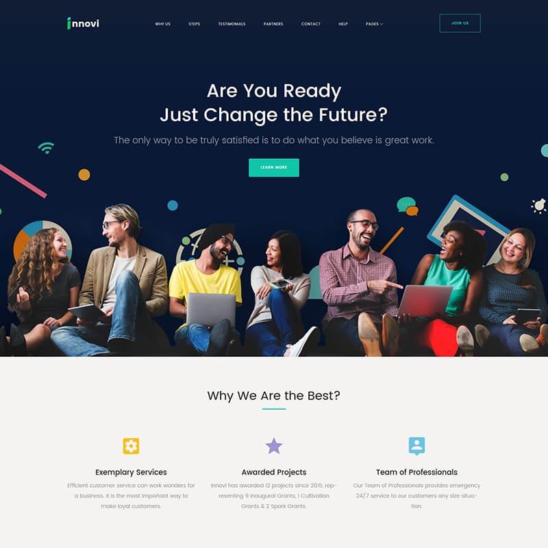 WordPress шаблон Innovi для сайта стартапа