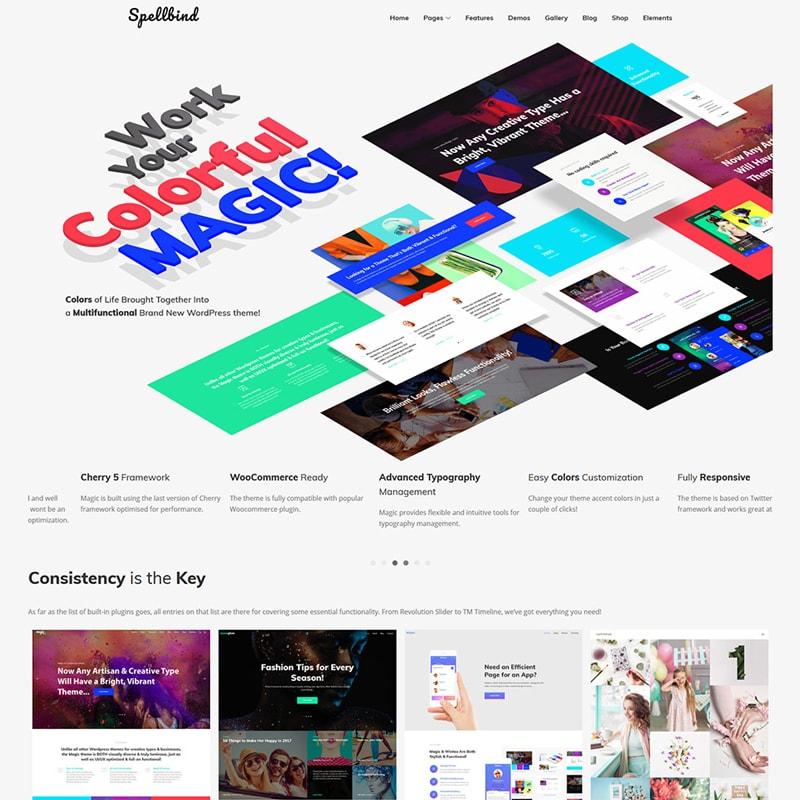 Spellbind - WordPress шаблон посадочной страницы услуг дизайнера