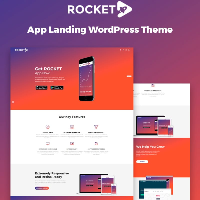WordPress шаблон Rocket - Mobile App Landing Page