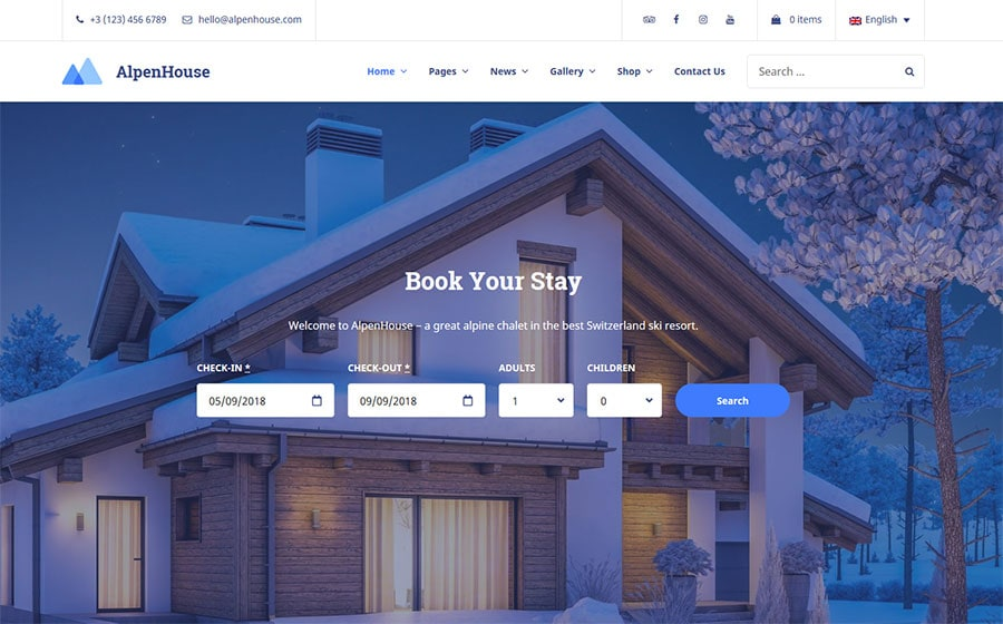 WordPress шаблон AlpenHouse - Vacation Rental