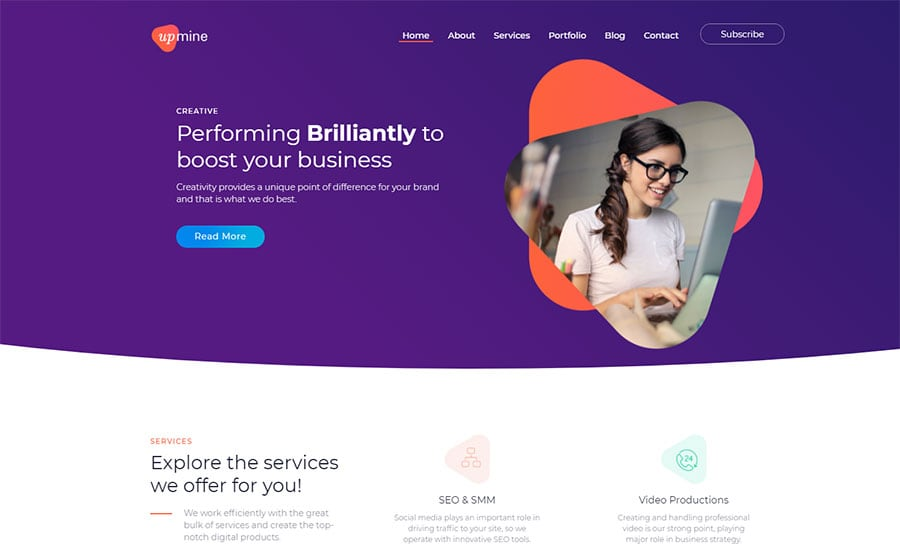 WordPress шаблон Upmine - Corporate Digital Agency