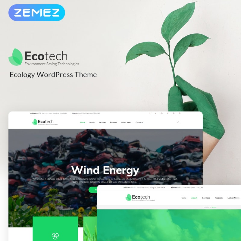 WordPress шаблон EcoTech - Environment Saving Technologies