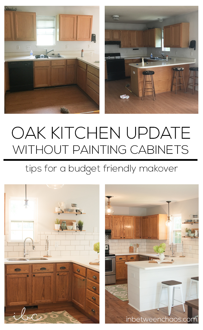 Update oak kitchen cabinets without paint www for Updating a kitchen