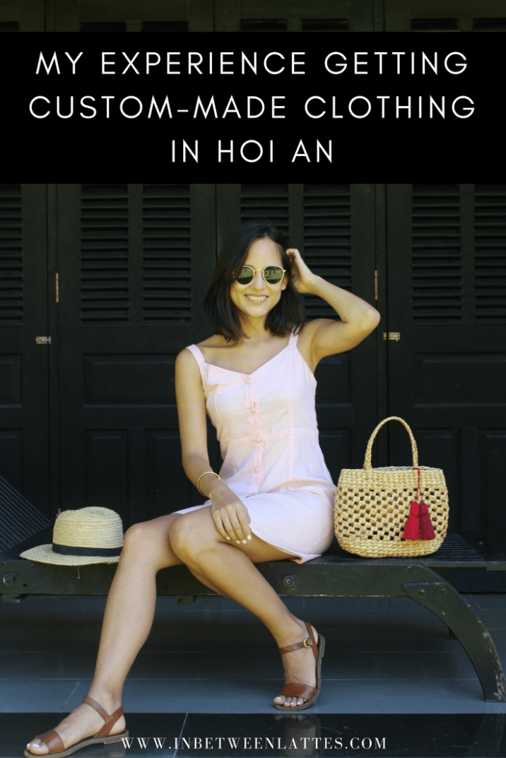 Hoi An Tailor Dress Pink Linen Dress Straw Hat Straw Bag Custom Made Dress