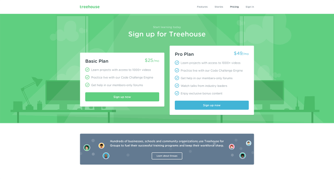 An Effective Landing Page Provides Convincing Information You Need To Make a Decision - Treehouse offering a clear pricing scheme
