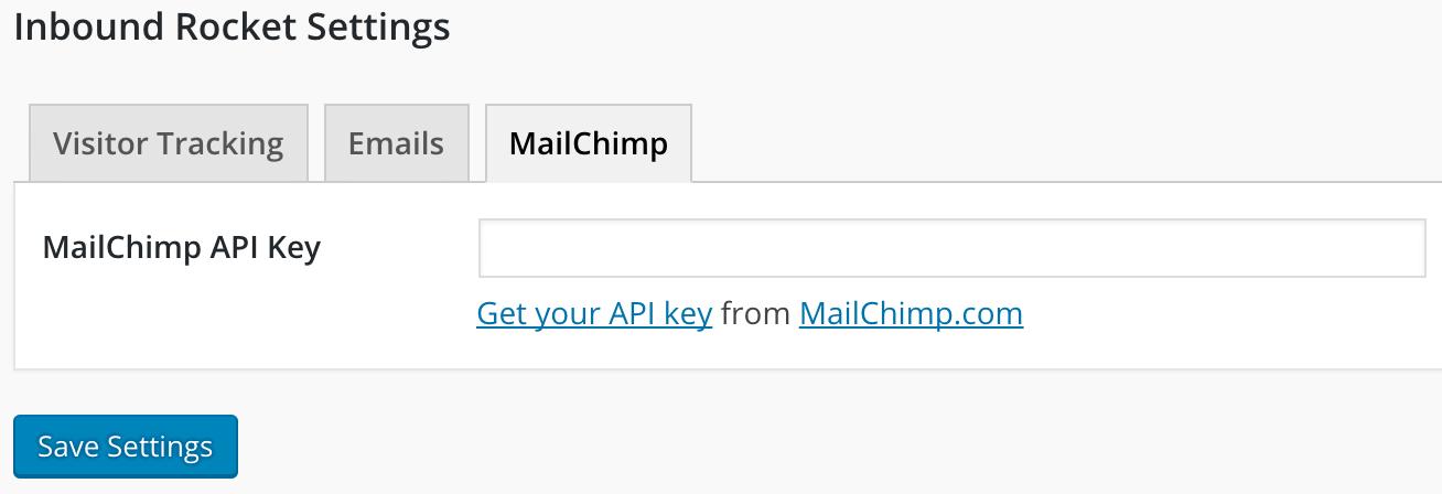 Inbound Rocket - paste your MailChimp API key