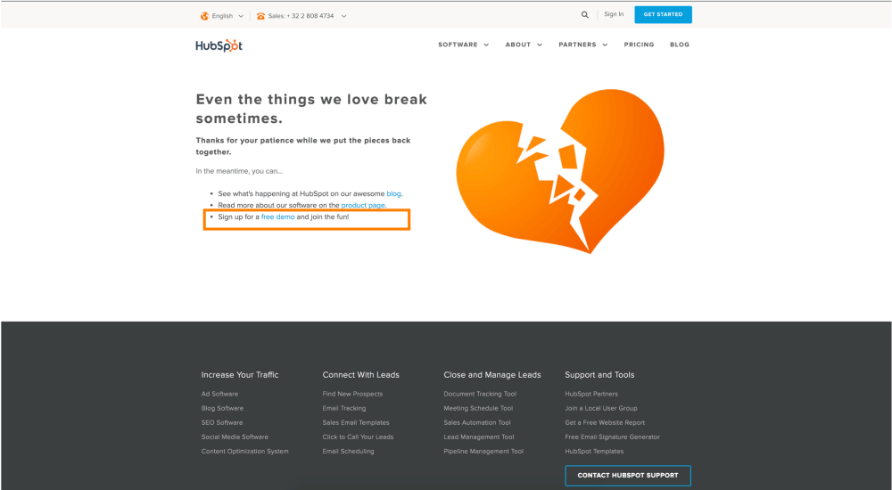 Hubspot offers visitors the opportunity to 'sign up for a free demo' on their error 404 page