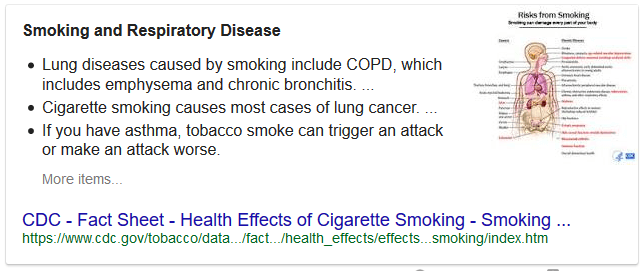 "Google's Featured Snippet for ""health risks of smoking"""