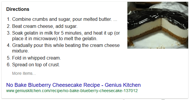 "Numbered list featured snippet presented for the search query ""blueberry cheesecake recipe"""