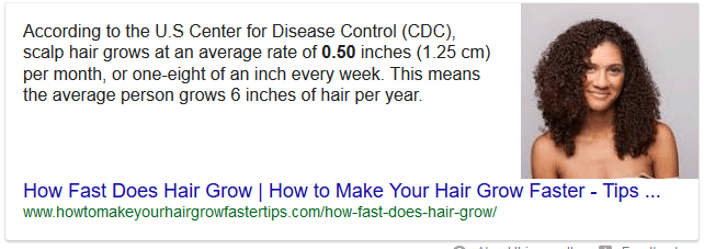 """Paragraph snippet presented to the question """"how fast does hair grow"""""""