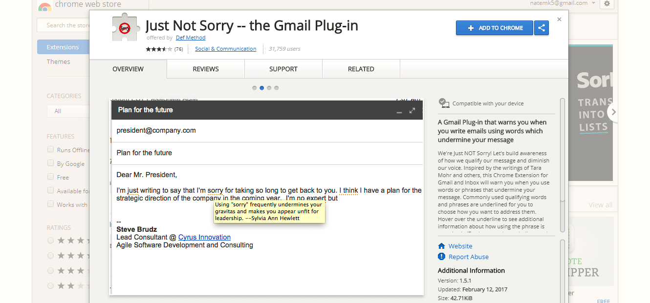 Just Not Sorry - Gmail plugin