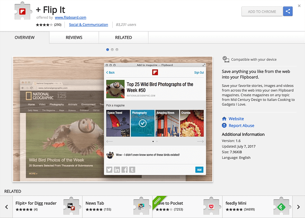 The Flipboard Chrome extension