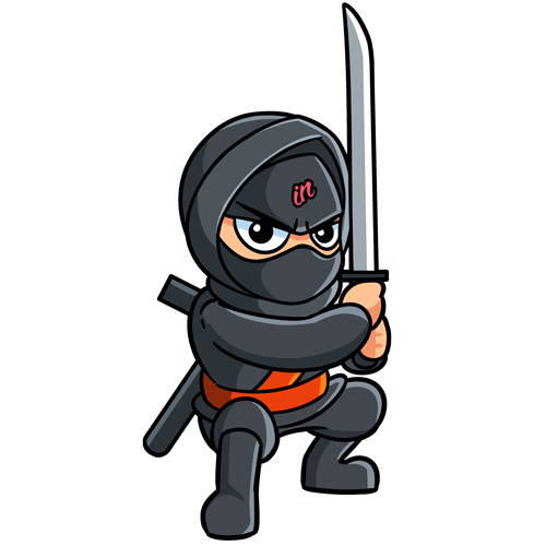 Crouching IN Business Ninja with orange belt and sword on a clear backgound
