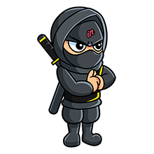 Standing IN Business Ninja with clasped hands yellow belt