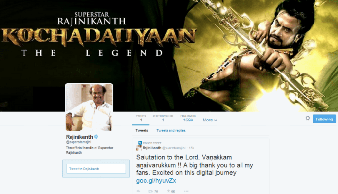 Only-On-Twitter Moment: Superstar Rajinikanth Debuts On Micro-Blogging Site, Mind It!