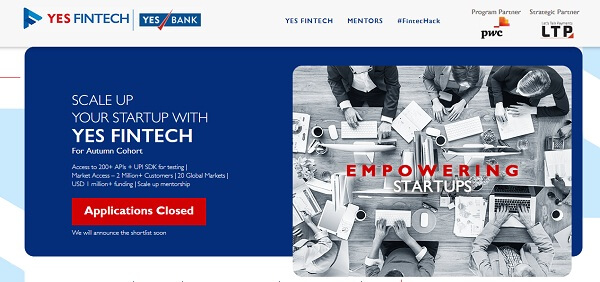 yes bank-yes fintech-accelerator-startups
