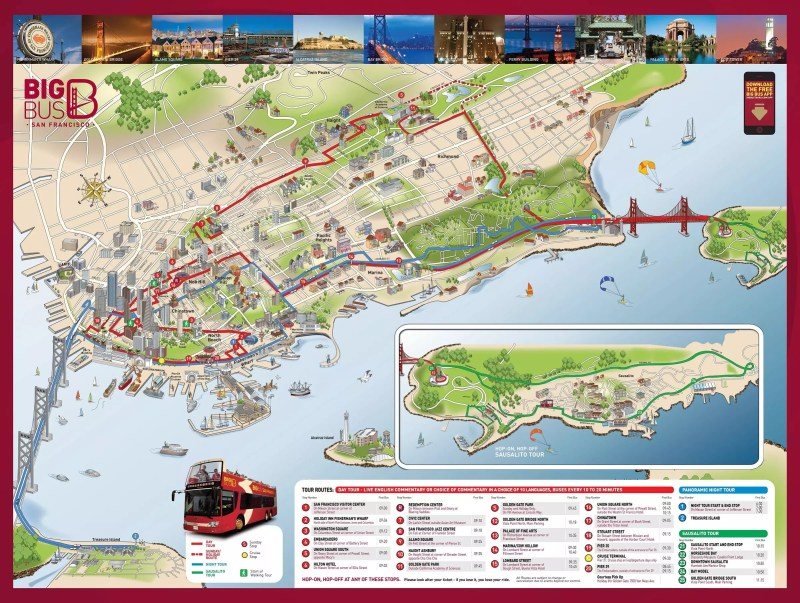 City Sightseeing San Francisco Hop On Off Tour Map | Leancy Travel on