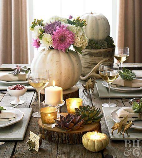 Decoratiune cu dovleci pentru masa