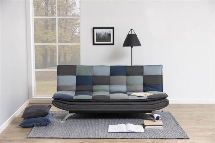 canapea extensibila tapitata cu stofa multicolour
