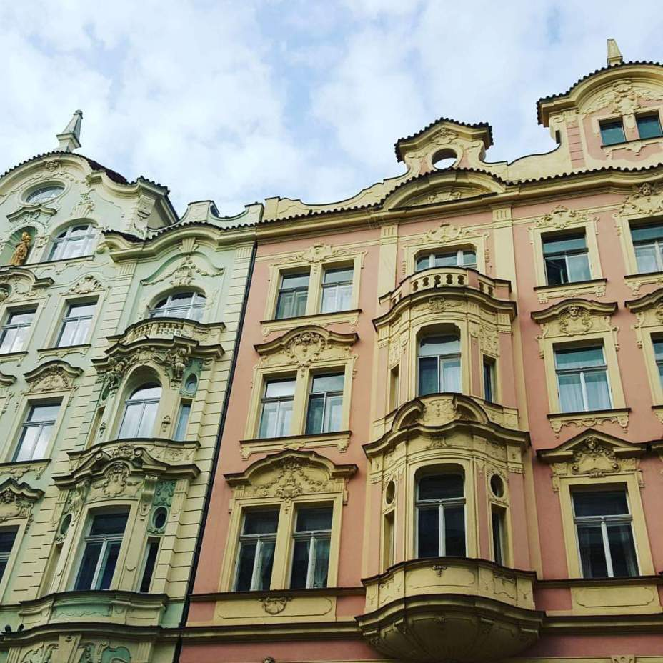 architecture of Prague pink building
