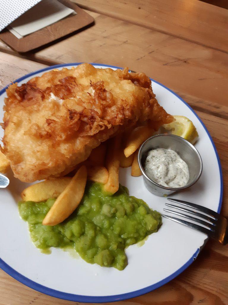 fish and chips and mushy peas