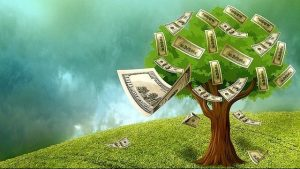 The picture shows a tree that leaves banknotes in place of the fruits.