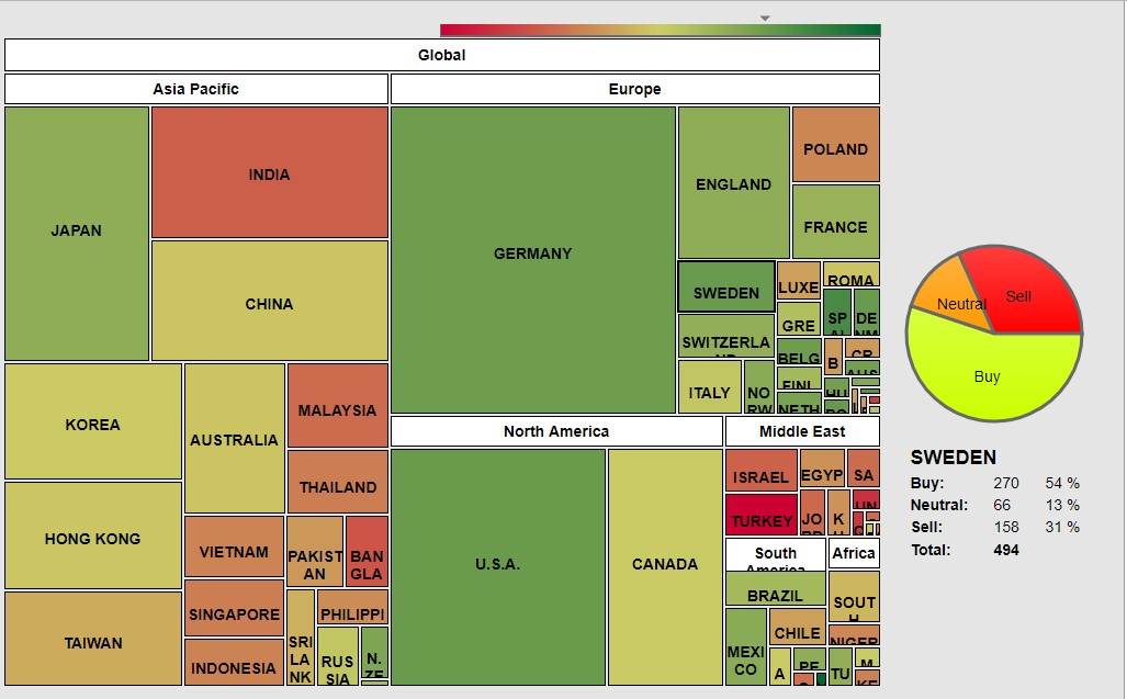 The picture shows all the main stock exchanges in the world. Are highlighted 71 Countries depicted by squares and rectangles with different colors.
